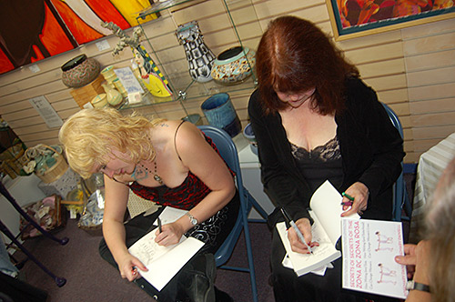 Rosemary and Connie sign copies of DESIRE: WOMEN WRITE ABOUT WANTING at the Alvida Gallery in Savannah